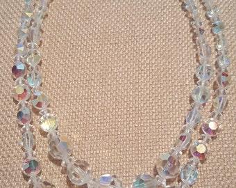 Vintage Arora Borealis Necklace Double Strand