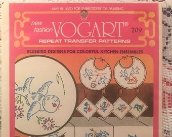 Vintage Vogart 709 Blue Birds DOW Repeat Transfer Needlework Pattern Embroidery 1960s