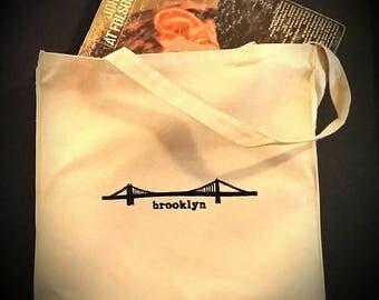 Embroidered Williamsburg Bridge Brooklyn Canvas Tote Bag