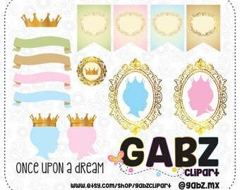 Once Upon a Dream, Gender Reveal, Baby Shower, Clipart, Prince or Princess, Boy or Girl, Blue or Pink, Gabz