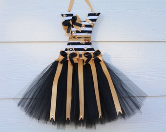 Black and gold tutu bow holder. Hair clip holder. Girls bow holder. Customized tutu bow holder. Cute Christmas, birthday, baby shower gift