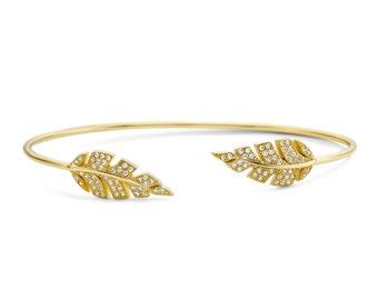 Open leaf cuff bracelet, CZ leaves bracelet, Dainty open leaves bracelet, Cubic zirconia leaves cuff bracelet, Minimalist open cuff bracelet