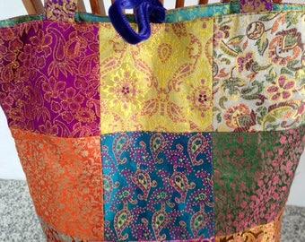 Vintage Silk Patchwork Boho Bag