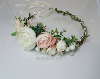 Blush Pink Ivory Flower crown Floral crown Flower halo Wedding flower crown   Flower girl  crown Hair flower crown Peonies crown