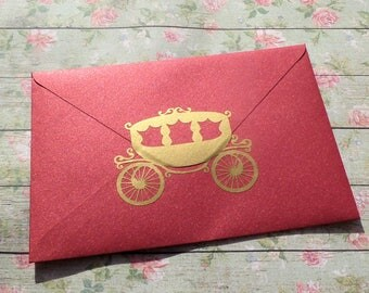 Princess Carriage stickers, Carriage decals, princess party invitation seal, princess birthday, wedding carriage, fairy tale, Cinderella
