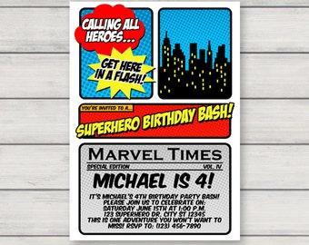 Superhero Invitation - Printable Birthday Party Invitation - Instant Download - Editable Text