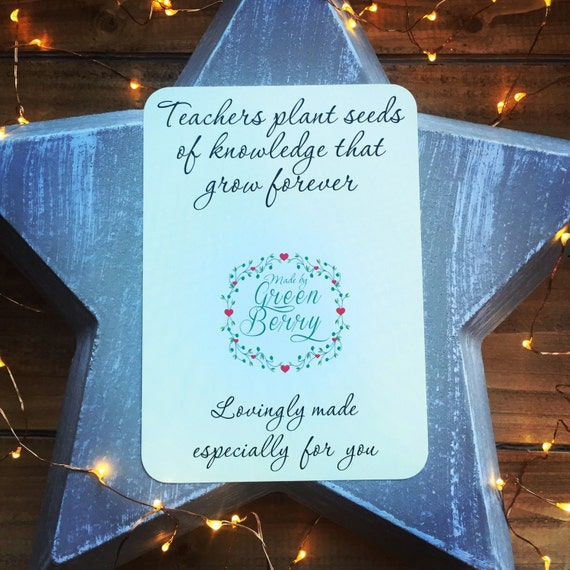 Teachers plant seeds of knowledge that grow forever quote card with choice of charm madebygreenberry wish bracelet