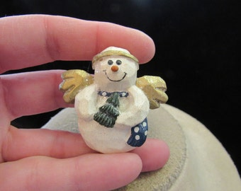 Vintage Christmas Ceramic Angel Snowman Pin