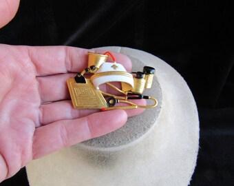 Vintage Signed AJC Large Enameled Nurses Themed Pin