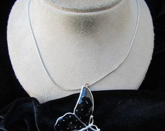 Vintage Large Black Enameled Butterfly Pendant Necklace