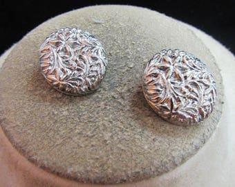 Vintage Pair Of Silvertone Floral Clip Earrings