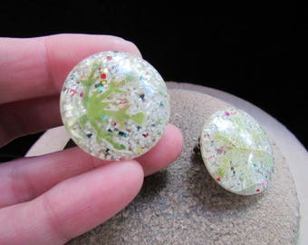 Vintage Pair Of Multi Colored Speckled Clip Earrings
