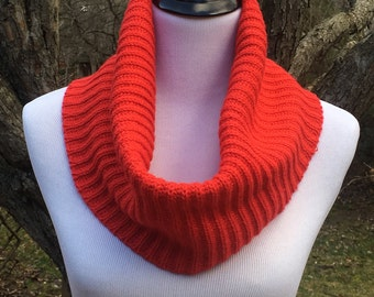 Bright Red Cowl, Upcycled Sweater, Knit Cowl, Handmade Cowl, Red Infinity Scarf, Winter Accessory, Warm Cowl