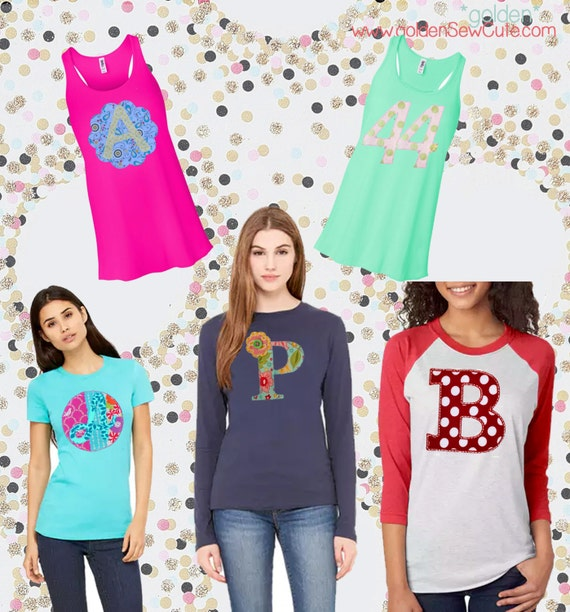 CYBER MONDAY SALE!  Applique Women's Tee, Tank, Woman Shirt, Mom, Grandma, Bride, Custom, Personalized, Initial, Circle, Flower