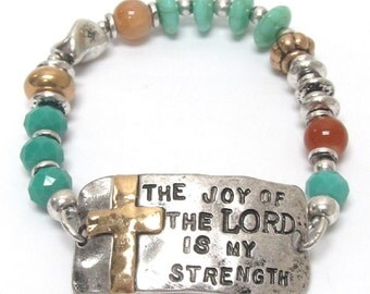 The Joy Of the Lord Is My Strength Beaded-Hammered Metal Bracelet