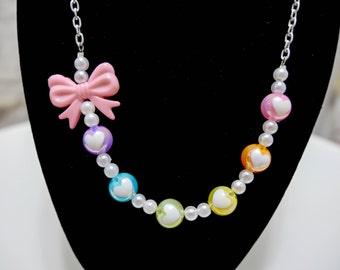 Kawaii Necklace with a Rainbow of Hearts and Delicate Bow – So Kawaii Decora J-Fashion Lolita Fairy Kei