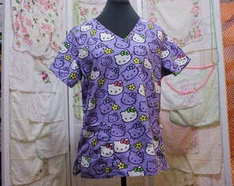 Hello Kitty Scrub Style Shirt - So Kawaii !! J-fashion Decora Fairy Kei Sanrio