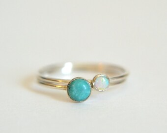 Set Of Two Sterling Silver Turquoise Rings, Silver Turquoise Ring, Silver Opal Ring, Stackable Ring, Stacking Ring, White Opal Ring Silver