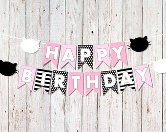 Cat Birthday Banner, Kitty Cat Party Banner,Cat Happy Birthday Banner, Cat Party Decor, Kitty Birthday Decoration, Pink and Black Cat Party