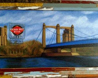 Grain Belt Bridge, framed giclee print