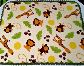 Baby Blanket * Crochet Edged Fleece * Lions Giraffes Monkeys * ~ Handmade ~ READY TO SHIP ~