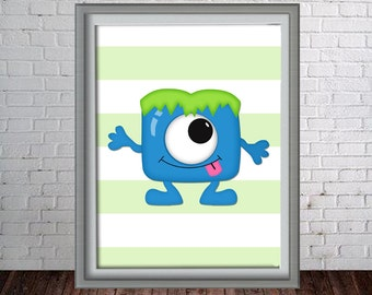 Printable Wall Art Print - 8x10 Monster - Blue Monster - Instant Download - Can Customize