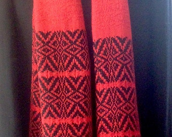 Scarf, handwoven, red silk and black wool.