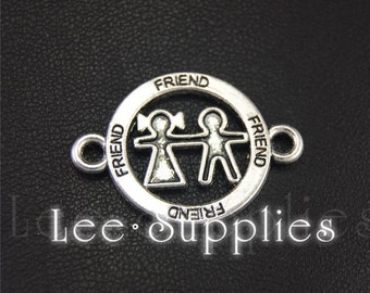 10pcs Antique Silver Alloy Friend Boy And Girl Connector Charms Pendant A1954