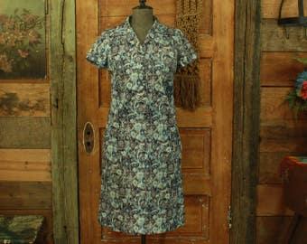CLEARANCE vintage 1960s handmade blue & brown floral print shift dress S