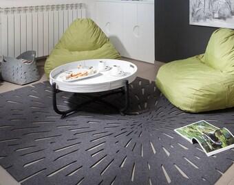 Star trails Rug, wool felt area rug, cut out rug, modern rug, wool felt rug, felt mat, natural felt rug, natural wool carpet, modern carpet