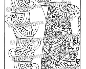 Coffee Pot and Stack of Mugs Coloring Page PDF
