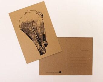 Map elephant, greeting card, postcard, postcard
