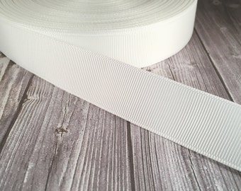 "Solid white Grosgrain - 7/8"" Grosgrain ribbon - 5 yards - Solid craft ribbon - DIY hair bow - DIY headband - Wedding ribbon - White wedding"
