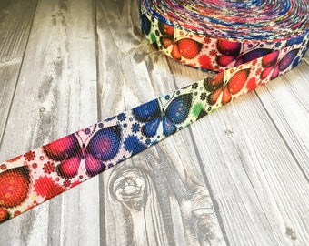 """Butterfly ribbon - Colorful butterfly - 7/8"""" Grosgrain ribbon - Rainbow butterfly - Bright funky ribbon - DIY hair bows - Craft supplies"""