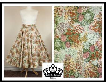 60s does 50s, Floral Swing Skirt, Full Circle Skirt, Rockabilly, Retro Print, Size XS