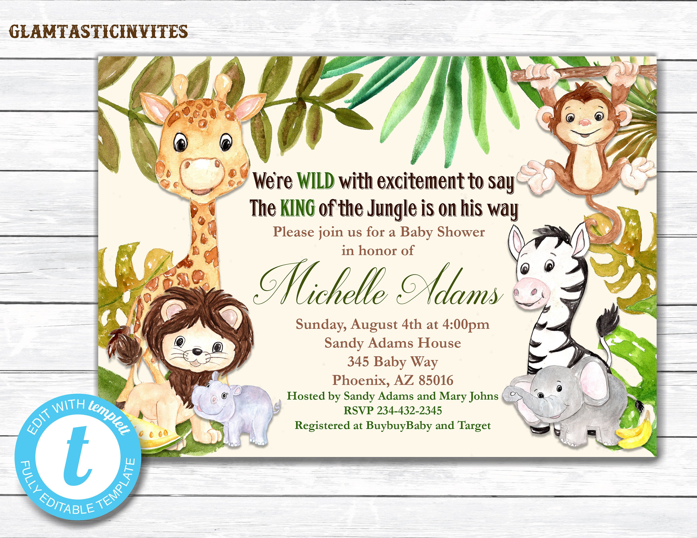 Giraffe Baby Shower Invitation Safari Baby Shower Invitation