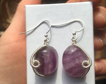 Amethyst Wire Wrap Crystal Earrings