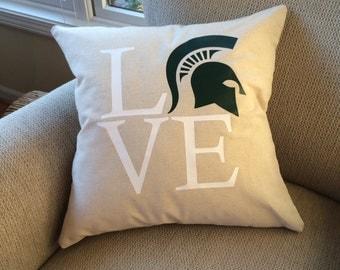 Michigan State pillow cover- Michigan State love- Michigan State- Michigan State pillow- Sparty love-Michigan state graduation gift- MSU