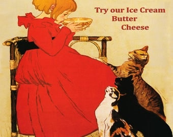 """Food 16""""X20"""" Kitchen Girl Milk Ice Cream Harlowton Montana Creamery Cats Tabby  Vintage Poster Repro Paper/Canvas FREE SHIPPING in USA"""