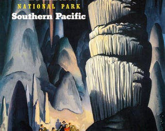 Carlsbad Caverns National Park New Mexico Travel Tourism Vintage Poster Repro FREE SHIPPING in USA