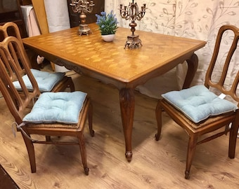 To be painted in your choice of colours Stunning Carved French Provincial Shabby Chic Dinning Table & 6 chairs Annie Sloan Chalk