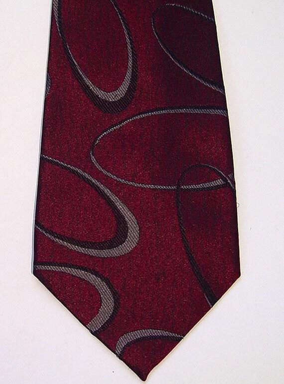 Vintage 80s GIANNI VERSACE Woven Silk Neck-Tie Elliptical Ring Design Hand Made
