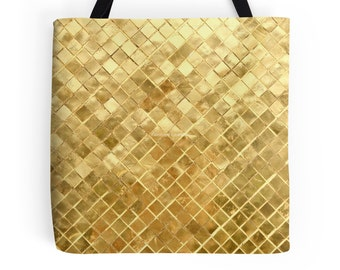 Golden Checkerboard Tote Bag, 3 Sizes Available!