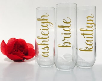 Bridesmaid Gift Ideas -Bridesmaid Champagne Glasses-Personalized Stemless Glasses-Toasting Flute-Personalized Champagne Flute-Monogram Glass