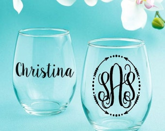 Bridesmaid gifts,gift, giftset, Christmas gifts,stemless wine glass, wine glasses, personalized cups, cute cup sets