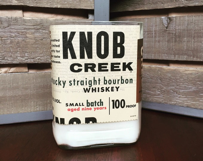 Recycled Knob Creek Bourbon Whiskey Bottle Candle