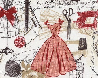 1/2 yd Bonjour Paris Vintage Dress Making by Timeless Treasures Fabrics C2329-RED