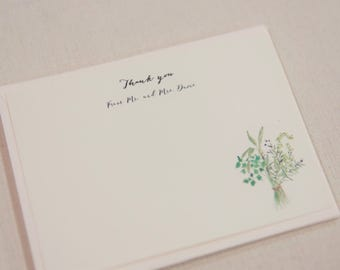 Set of 25 - Personalized Herbal thank you note - botanical wedding - herbal wedding - rustic wedding - garden wedding - vintage wedding -