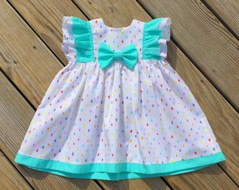 Watercolor ruffle dress, girls birthday outfit, toddler fall dress, newborn coming home outfit, Birthday dress, bow dress, mint dot