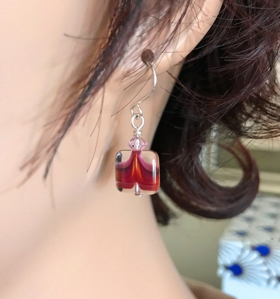 Diffuser or Fashion Earrings. Czech Glass Square Dark Pink with Pink Swarovski Crystal. Sterling Silver Ear Wire Option. Matching Necklace.